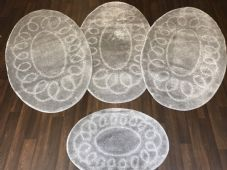 ROMANY WASHABLES TRAVELLERS 4 MATS NON SLIP OVAL DESIGN SUPER THICK SILVER/GREYS